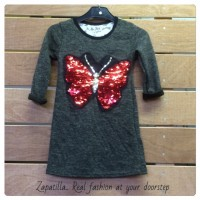 Butterfly kidsdress groen